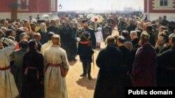 Фрагмент репродукции картины «Прием волостных старшин императором Александром III» Ильи Репина