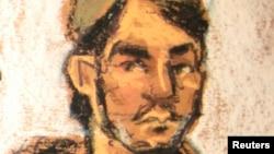 Абдурасул Джурабоевтің сот залынан салынған кескіні.