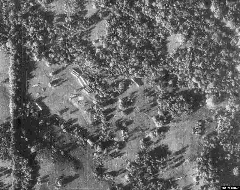 A CIA reconnaissance photo shows evidence of missile assembly in Cuba -- missile transporters and missile-ready tents. Khrushchev's plans to place Soviet nuclear weapons in Cuba were seen as bringing the world to the brink of nuclear war.