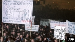 Одна из демонстраций в Лейпциге осенью 1989 года