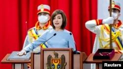 Президент Молдовы Майя Санду во время инаугурации. Кишинёв, 24 декабря 2020 года.