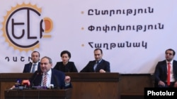 Armenia - Opposition leader Nikol Pashinian addresses the founding congress of the Yelk bloc in Yerevan, 21Jan2017.