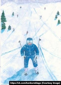 Путин-горнолыжник. Рисунок 14-летней Айгузель Камаловой