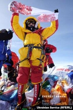 Татьяна Яловчак на вершине Эвереста