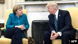 U.S. President Donald Trump (right) and German Chancellor Angela Merkel meet in the White House in Washington, D.C., on March 17.