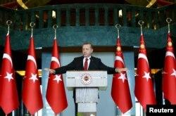 Президент Туреччини Реджеп Тайїп Ердоган під час виступу в Анкарі. 12 січня 2016 року