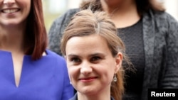 U.K. -- Batley and Spen MP Jo Cox is seen in Westminster, May 12, 2015