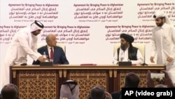 U.S. Peace Envoy Zalmay Khalilzad and Taliban leader Mullah Abdul Ghani Baradar signed a peace agreement on February 29.