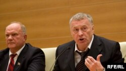 Communist leader Gennady Zyuganov (left) and LDPR head Vladimir Zhirinovsky at a press conference in the State Duma on October 14