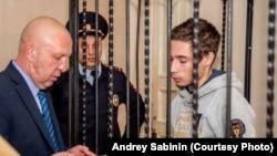 Павло Гриб на одному з попередніх засідань суду в Краснодарі, Росія