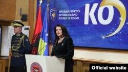 Atifete Jahjaga gjatë ceremonisë, 17 Shkurt 2013