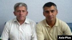"Абдурахмон Шарифов (слева) и Шухрат Кудратов (справа), адвокаты издания ""Азия-Плюс""."