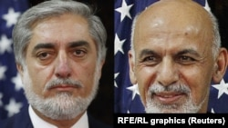 Кандидаты в президенты Афганистана Абдулла Абдулла (слева) и Ашраф Гани (справа).