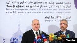 رضا اردکانیان، وزیر نیرو ایران (راست) در کنار سرگئی چبوتارف، وزیر «امور قفقاز شمالی» روسیه