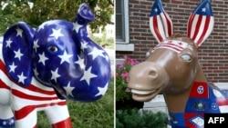 Символы Республиканской (слон) и Демократической (осел) партий США