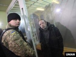 Лідер партії «Укроп» Геннадій Корбан під час засідання Новозаводського районного суду Чернігова щодо обрання запобіжного заходу. 2 листопада 2015 року
