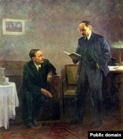 Янка Купала і Якуб Колас. Карціна Івана Ахрэмчыка