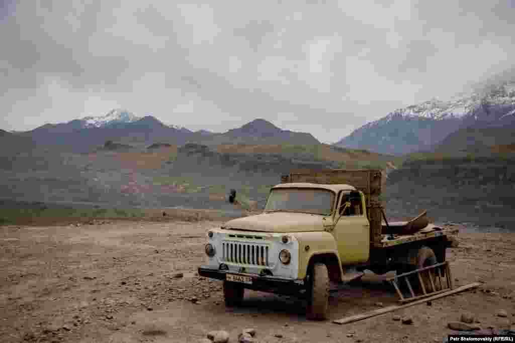A broken soviet truck on the Tajik border with Afghanistan