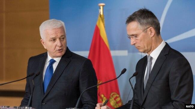 Rusija se snažno protivi članstvu Crne Gore u Sjevernoatlantskom savezu: Crnogorski premijer Duško Marković i generalni sekretar NATO Jens Stoltenberg