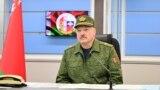 Лукашэнка падчас вучэньняў «Захад-2021» на палігоне Обуз-Лясноўскі. 12 верасьня 2021