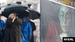 Activists in Moscow marked the second anniversary of Politkovskaya's murder in October.