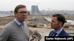 Siniša Mali sa Aleksandrom Vučićem na gradilištu Beograda na vodi