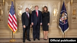 Ппемьер-министр Армении Никол Пашинян (слева), президент США Дональд Трамп и первая леди США Меланья Трамп, Нью-Йорк, 26 сентября 2018 г.