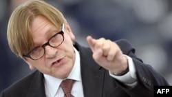 """Лидер группы """"Альянс либералов и демократов Европы"""" в Европарламенте, бывший премьер-министр Бельгии Ги Верхофстадт"""