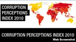World -- Transparency International. Corruption perceptions results 2010