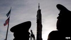 """На Байконуре идет запуск корабля """"Союз TMA-13"""". 10 октября 2008 года."""
