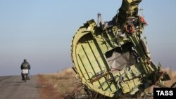 """Обломки пассажирского самолета """"Малайзийских авиалиний"""" Boeing 777, разбившегося 17 июля в районе села Грабово на востоке Украины."""