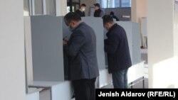 Один из избирательных участков в Кыргызстане. Апрель 2021 года.