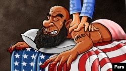 A bearded man labeled as an Islamic State militant lies on a bed covered with a U.S. flag while a masseuse wearing sleeves embossed with Israeli flags works on his shoulders.