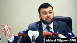 Новоизбранный лидер самопровозглашенной Донецкой «народной республики» 37-летний Денис Пушилин выступает на пресс-конференции. 14 ноября 2018 года.