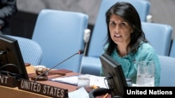 U.S. Ambassador to the United Nations Nikki Haley speaks during a Security Council meeting in New York on April 27.