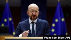Charles Michel, az Európai Tanács elnöke beszél az EP-ben 2021. január 20-án.