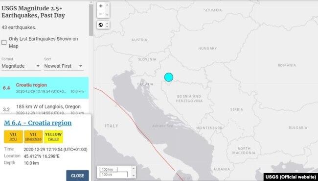 USGS mapa sa podacima o zemljotresu