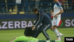 Pogođeni golman reprezentacije Rusije na utakmici u Podgorici