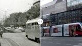 Плоштадот Славија околу 1975 година. Централниот дел на плоштадот, кружниот тек, кој сè уште е еден од главните белградски патишта, претрпе најголема промена во 2017 година, кога беше изградена музичка фонтана на местото на бистата на српскиот социјалдемократ од почетокот на дваесеттиот век, Димитриј Туковиќ.