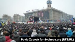 An opposition protest in downtown Kyiv on February 9 drew tens of thousands of government critics.
