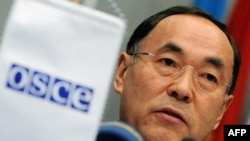 Kazakh Foreign Minister Kanat Saudabaev, who is the OSCE's current chairman in office