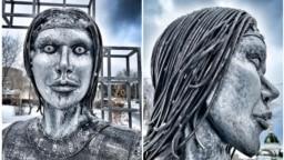 Арт-объект «Аленка» в Нововоронеже, коллаж