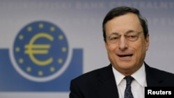 European Central Bank (ECB) President Mario Draghi speaks during the monthly news conference in Frankfurt on September 6.