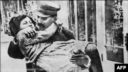 Undated photo of Soviet dictaor Joseph Stalin and his daugher Svetlana