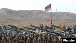 Armenia -- Troops and tanks lined up for a military exercise.