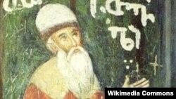Изображение Шота Руставели на фреске в монастыре (Иерусалим)