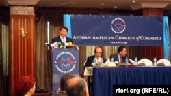 Then-Commerce Minister Anwarul Haq Ahadi, seen during a press conference in Kabul in June, is the most prominent of the 16 disqualifications.