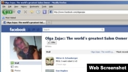 Screen grab of the Facebook page dedicated to alleged hair salon owner and martial arts expert Olga Zajac.