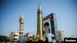 A display featuring missiles and a portrait of Iran's Supreme Leader Ayatollah Ali Khamenei is seen at Baharestan Square in Tehran, Iran September 27, 2017. File photo