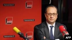 Прэзыдэнт Францыі Франсуа Алянд падчас інтэрвію радыёстанцыі France Inter у Парыжы 5 студзеня.
